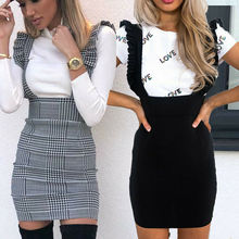 Fashion Women Check Dog Tooth Frill Ruffle Pinafore High Waist Bodycon Party Mini Dress