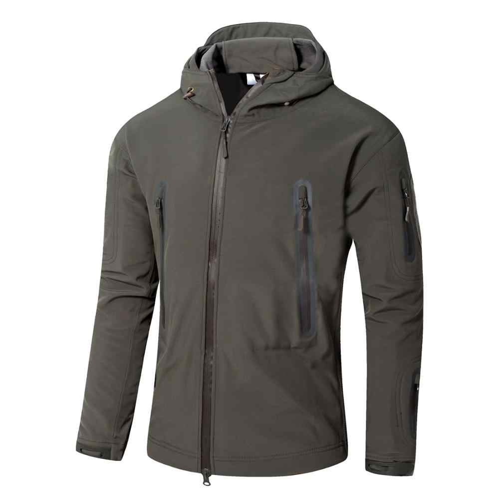 サメ皮のソフトシェルジャケット男性ハイキングトップ暖かい通気性防風フード付きジャケットウインドブレーカープロハイキングジャケット
