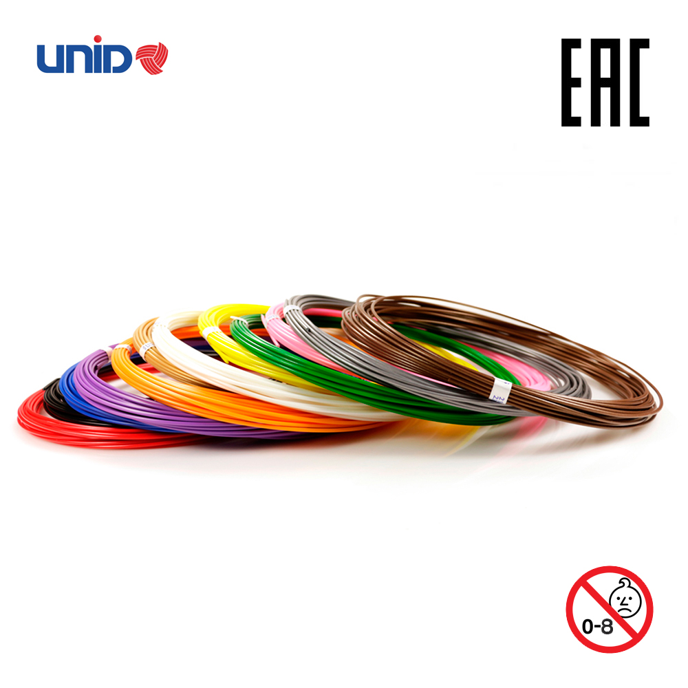 3D Pen Fillament UNID ABS 12 Multicolor Set KID PLA PRO 3D Printing Print birthday present Creativity Smart doodle drawing creopop ink for 3d printer pen plastic pla abs filament set petg rods moscow cheap russia delivery classic cyan orange red