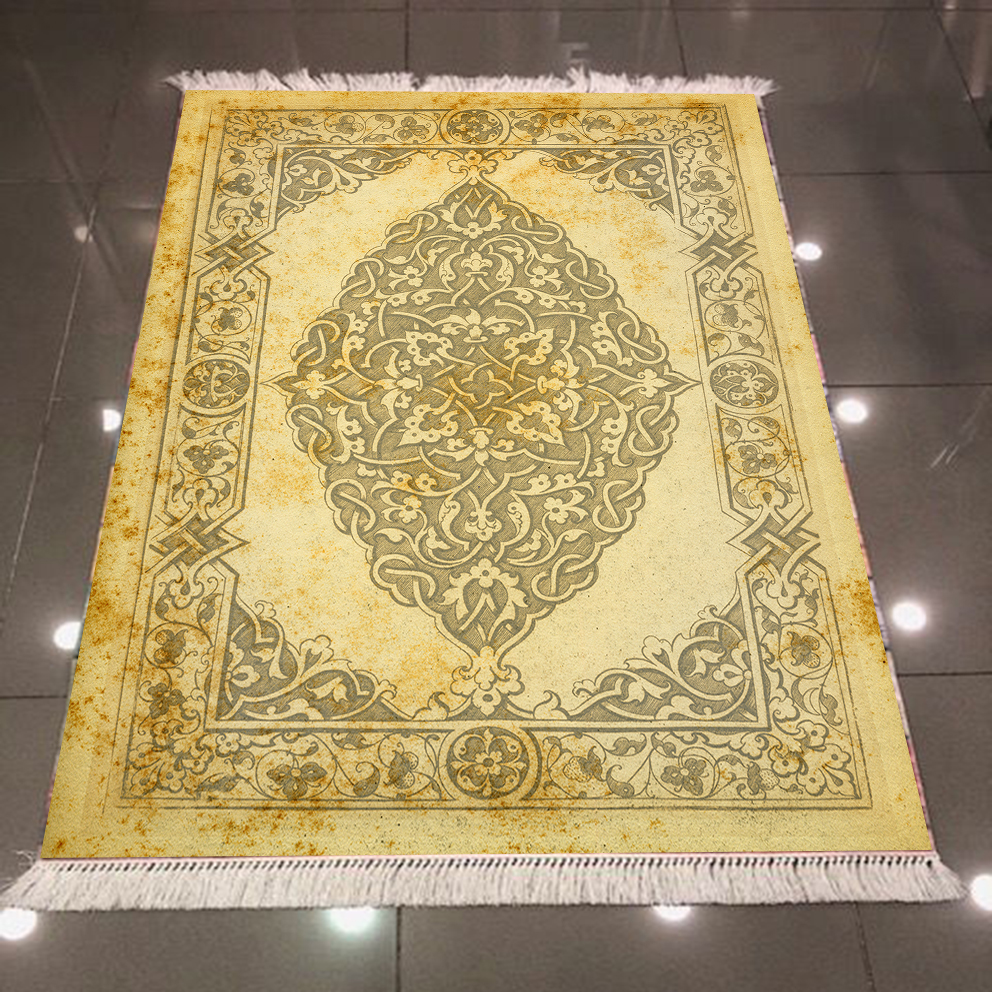 Else Gray Yellow Ethnic Turkish Ottoman Tradional Design 3d Microfiber Anti Slip Back Washable Decorative Kilim Area Rug Carpet