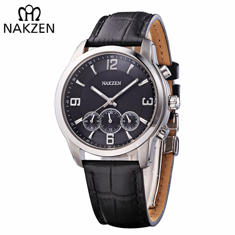 NAKZEN Luxury Brand Quartz Men's Watch Genuine Leather Men Wristwatch Students Run Chronograph Edifice Watches Relogio Masculino genuine jedir quartz male watches genuine leather watches racing men students game run chronograph watch male glow hands