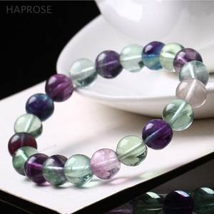 HAPROSE Natural fluorite Tea agates Beads Gem bracelet