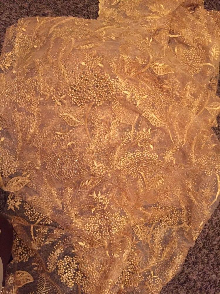 Rosa tecido de renda francesa com pérolas e pedras de malha de tule de alta qualidade tecidos rendas para o casamento nigeriano 2017 5 quintal/lotHF-24