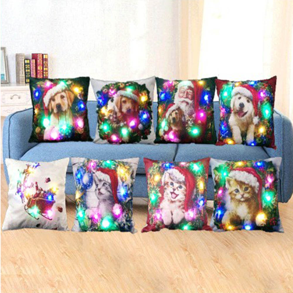 New Arrival Christmas LED Cushions Cover Cotton Linen Sofa Bed Animal Dog Pillow Case for Home Decoration