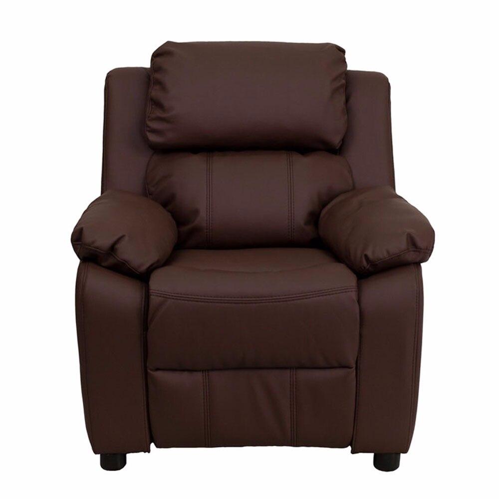 где купить Flash Furniture Deluxe Heavily Padded Contemporary Brown Leather Kids Recliner with Storage Arms [863-BT-7985-KID-BRN-LEA-GG] по лучшей цене