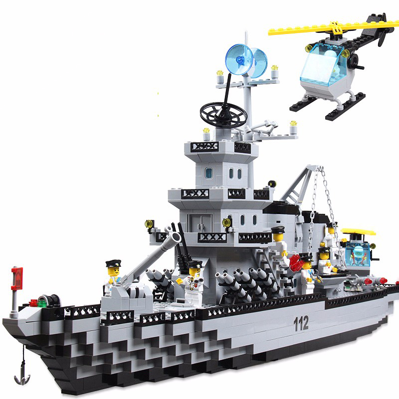 970Pcs Modern Military Cruiser Assembly Airplane Carrier Model Bricks Building Block Toys Compatible With LegoINGly City 1 700 german cruiser prinz eugen with trumpeter 05766 warship assembly model toys retrofit parts
