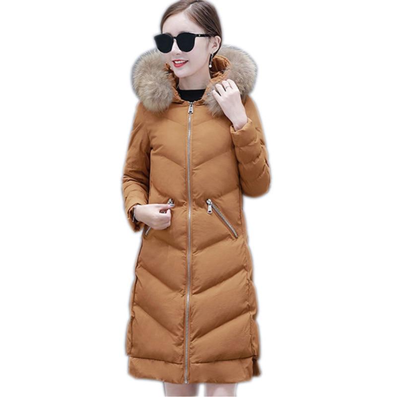 Women s winter cotton jacket Long section hooded outerwear fashion fur collar Women warm Parka Overcoat