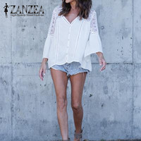 2018 ZANZEA Fashion Women V Neck Bell Sleeve Casual Solid Beach Blouse Loose Lace Hollow Out