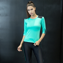 Women Fitness Yoga Sports Set 3/4 Sleeve Legging Pants Jogging Suits for Sport Suit Wear Clothing Gym Clothes 17032