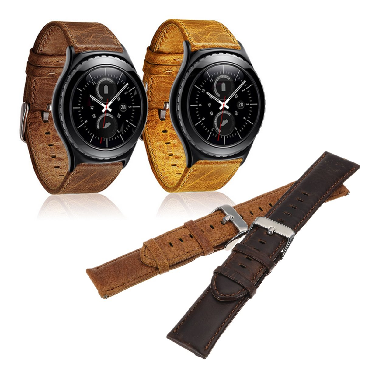 22mm Retro Genuine Leather Strap for/Samsung Gear S3 Watchband for/Gear S3/Classic Frontier Metal Buckle Watch Replacement Belt crested genuine leather strap for samsung gear s3 watch band wrist bracelet leather watchband metal buck belt