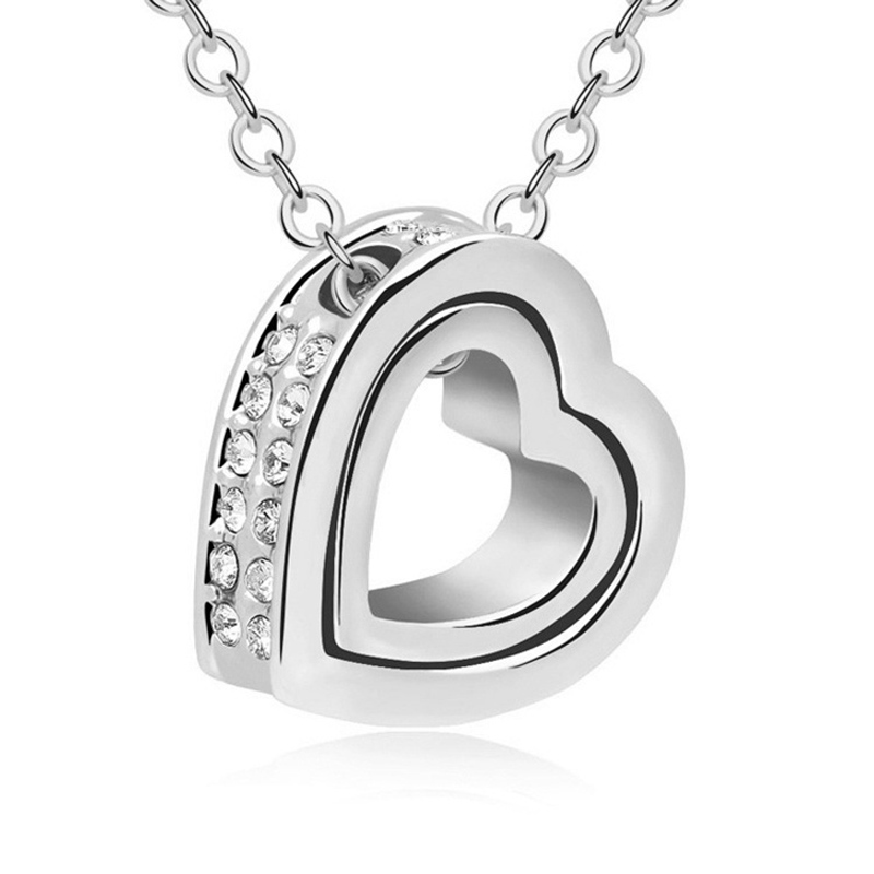 Fashion Gold Silver Color Sparkling Crystal Heart Chain Necklaces & Pendants Trendy Jewelry Gift For Women Accessories