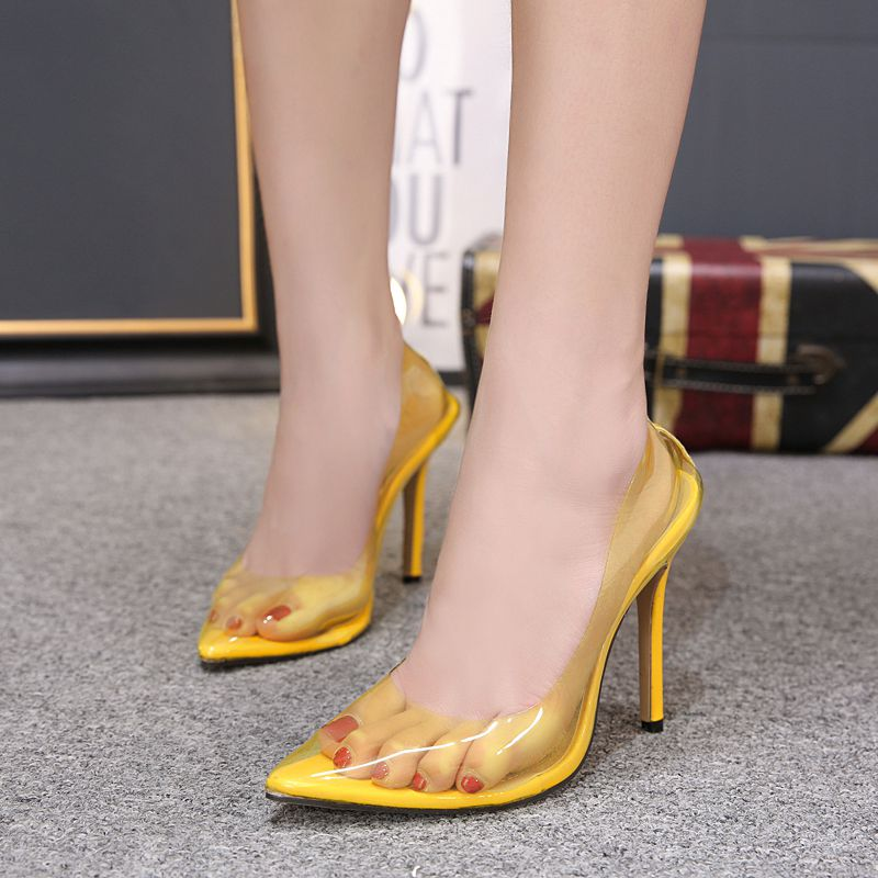 Women's pumps 2018 transparent stilettos high heels sexy pointed toe slip on wedding party shoes for lady yellow bule apricot 40