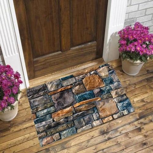 Else Brown Gray Blue Brick Wall Stones Road Way 3d Pattern Print Anti Slip Decorative Floor Door Mat Home Entryway Livingroom
