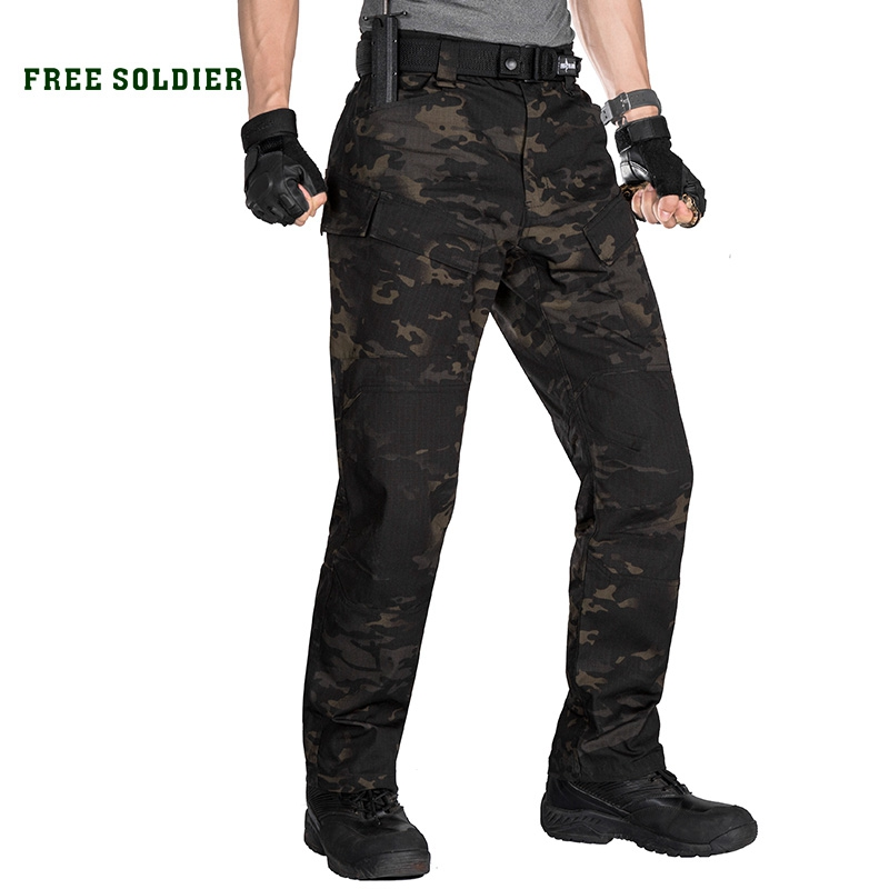 FREE SOLDIER outdoor sports tactical military camouflage pants man trousers with multi pocket for camping hiking zoom led flashlight 18650 rechargeable camping portable light tactical bicycle cycling torchlight waterproof bike torch
