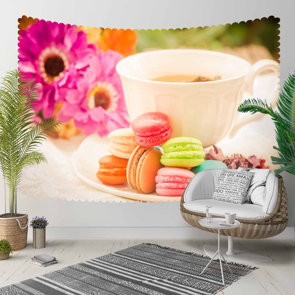 Else Pink Flowers Cup Of Tea Yellow Brown Macaroon 3D Print Decorative Hippi Bohemian Wall Hanging Landscape Tapestry Wall Art