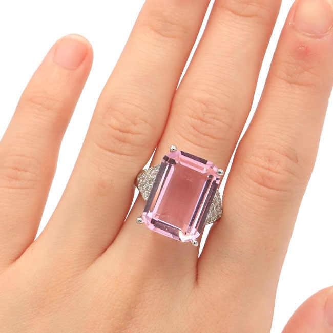 20x18 มม.SheCrown 18x13 มม.สีชมพู Kunzite สีขาว CZ ของขวัญสำหรับสุภาพสตรีแหวนเงิน