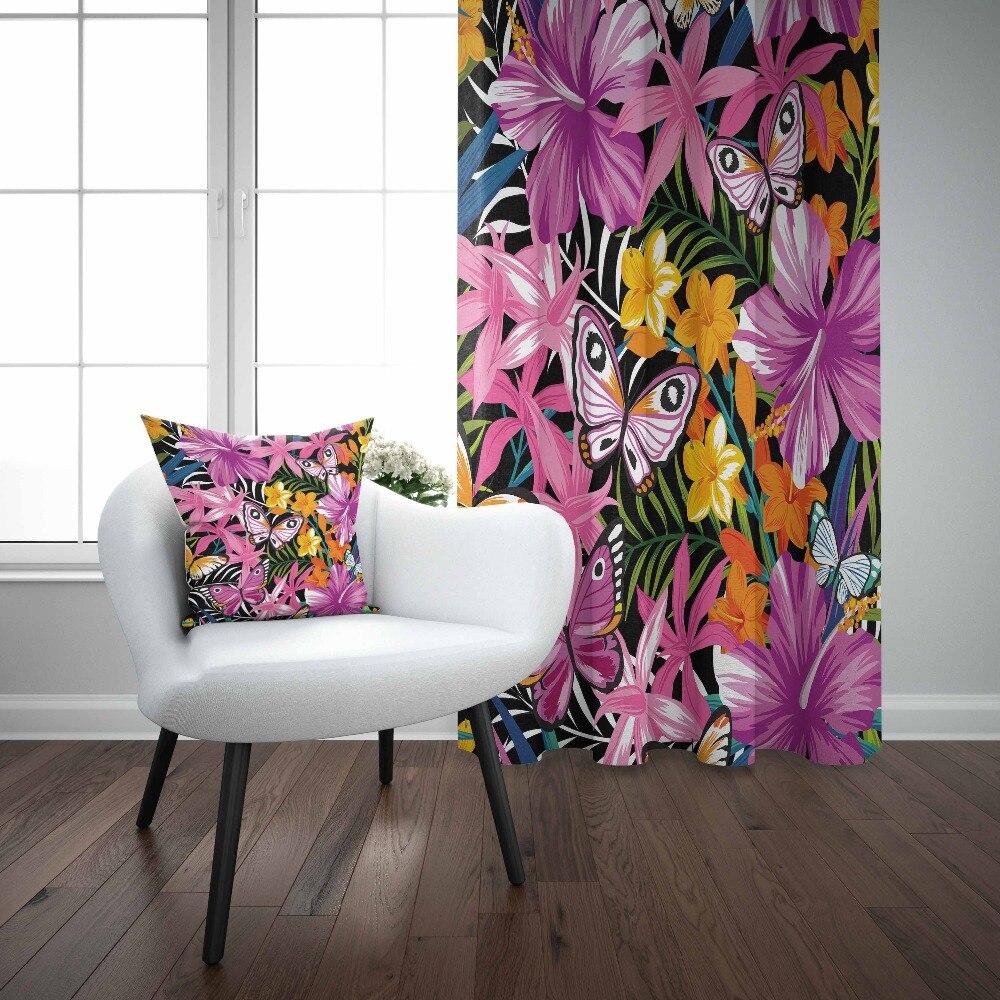 Autre violet blanc jaune fleurs Floral papillon impression 3D salon chambre fenêtre panneau rideau combiner cadeau taie d'oreiller