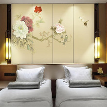 Custom wallpapers flowers and birds Chinese painting peony rich background wall high-grade waterproof material
