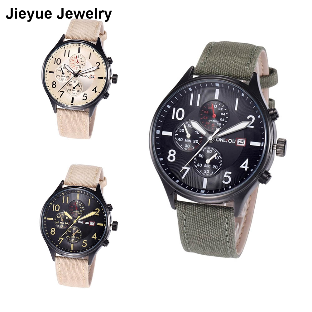Fashion Sports Watches Clock Men Linen Strap Quartz Wrist Watch Male relogio masculino de pulso