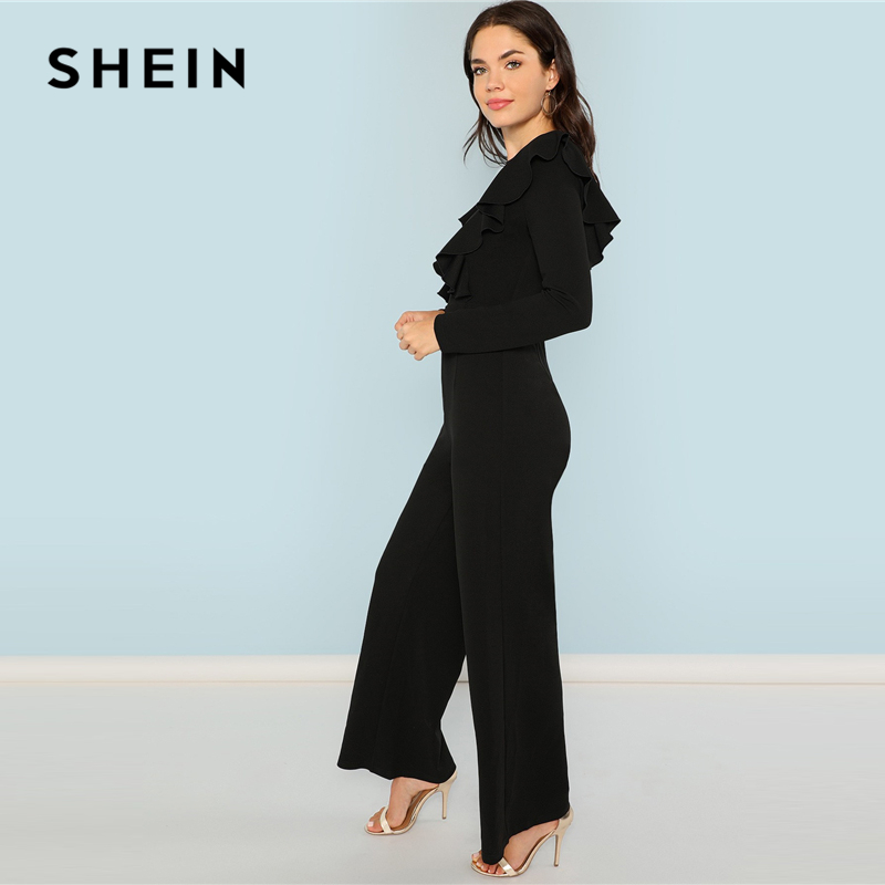 432d0346c0 Aliexpress.com : Buy SHEIN Black Round Neck Plain Jumpsuit Elegant Mid  Waist Wide Leg Maxi Jumpsuits Women Autumn Ruffle Trim Palazzo Jumpsuit  from Reliable ...
