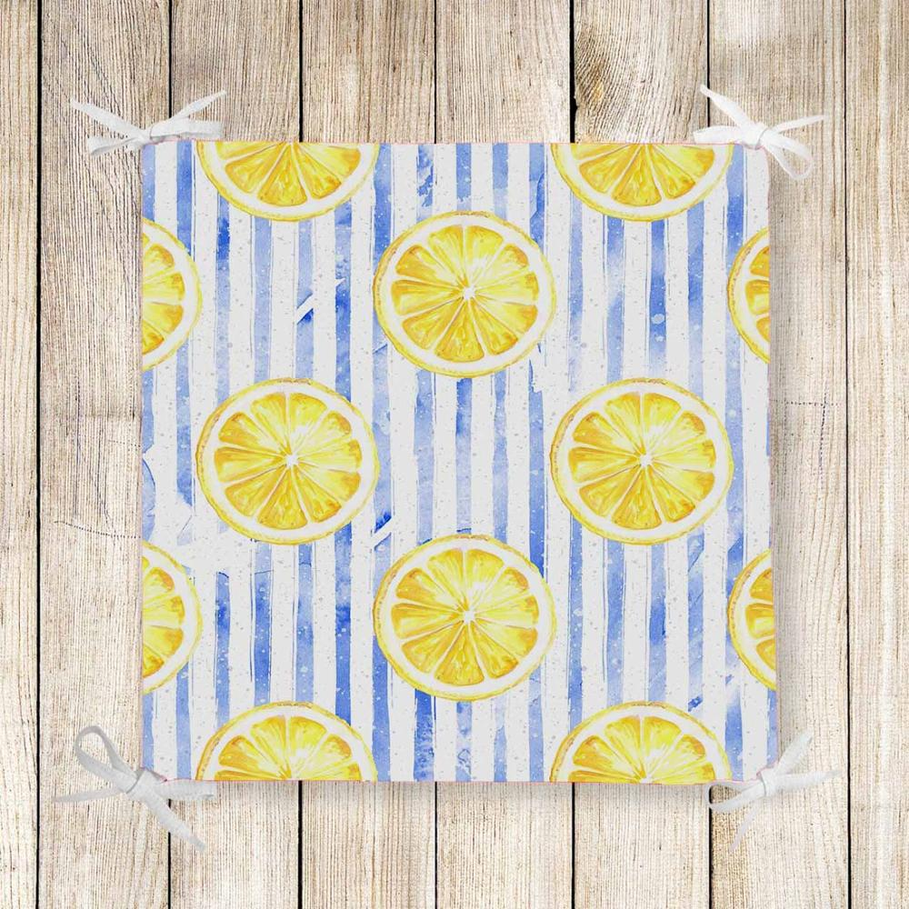 Else Blue Vintage Lines Slice Lemons 3d Print Chair Pad Seat Cushion Soft Memory Foam Full Lenght Ties Non Slip Washable Zipper
