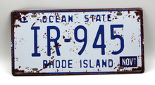 1 pc Ocean state Rhode Island tin sign plate US American car license plaques man cave garage sign