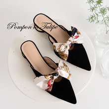 BHS 901122 Chic Pointed Toe 2.5CM Heels Pumps Mules Ribbon Genuine Leather Sandals Sheepskin Fashion Women Shoes Party Wedding