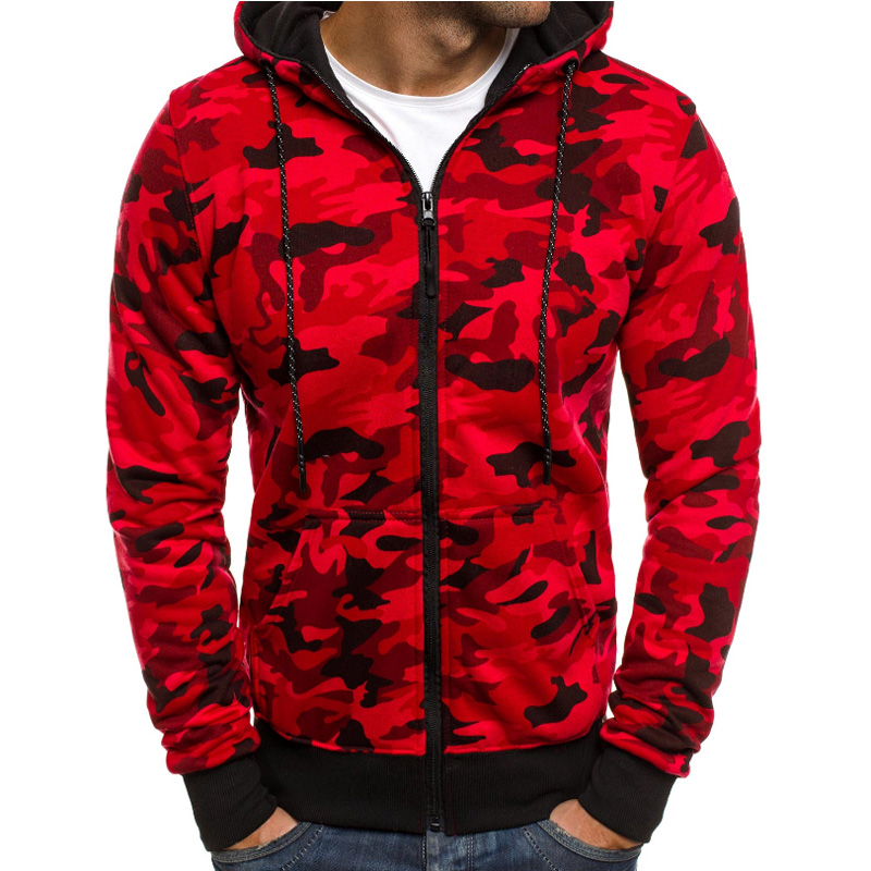 2018 Hoodies Men Sweatshirt Slim Long Sleeve Zipper Cardigan Hip-Hop Hooded Sportswear MenS Camouflage Printed Tracksuit XXL