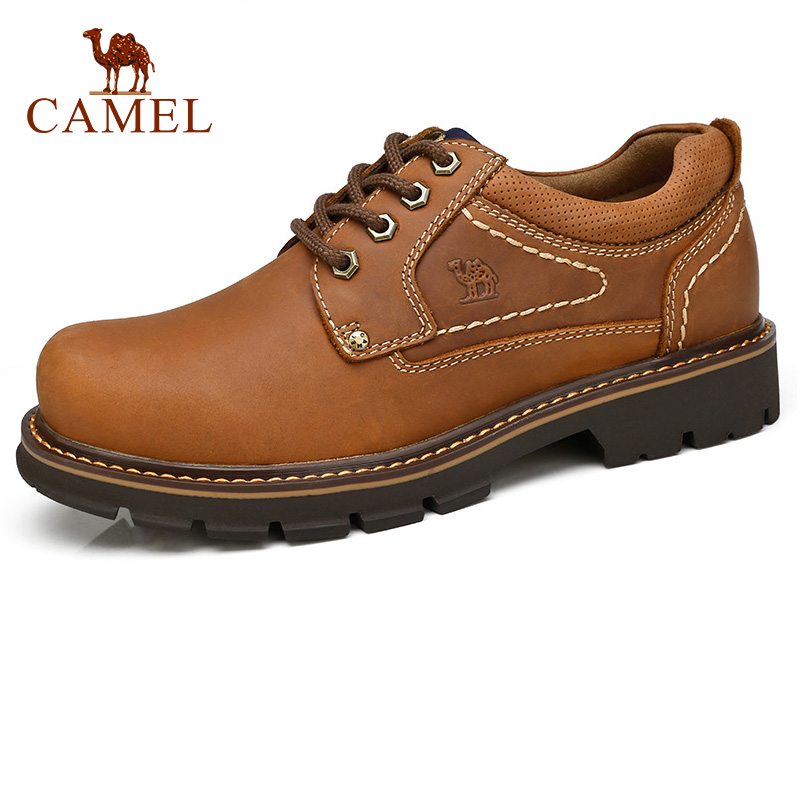 CAMEL Men Casual Comfort Wild Fashion Cowhide Genuine Leather Tooling Shoes Outdoor Desert Rubber Sole Lace