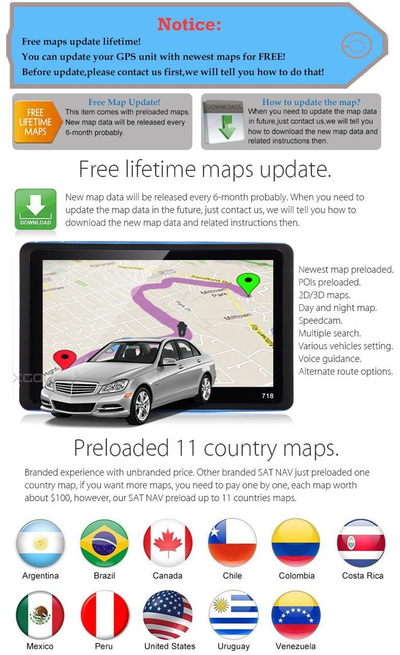 Best Choice] XGODY 718 7 Inch Car GPS Navigation 128M+8GB FM