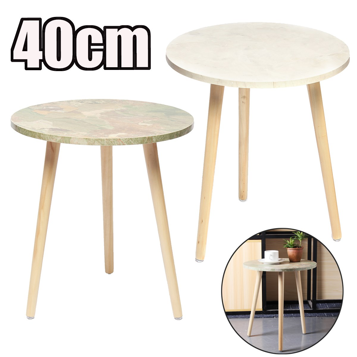 fashion round table European style coffee table side living room elegant solid wood furniture set colorful coffee table simple