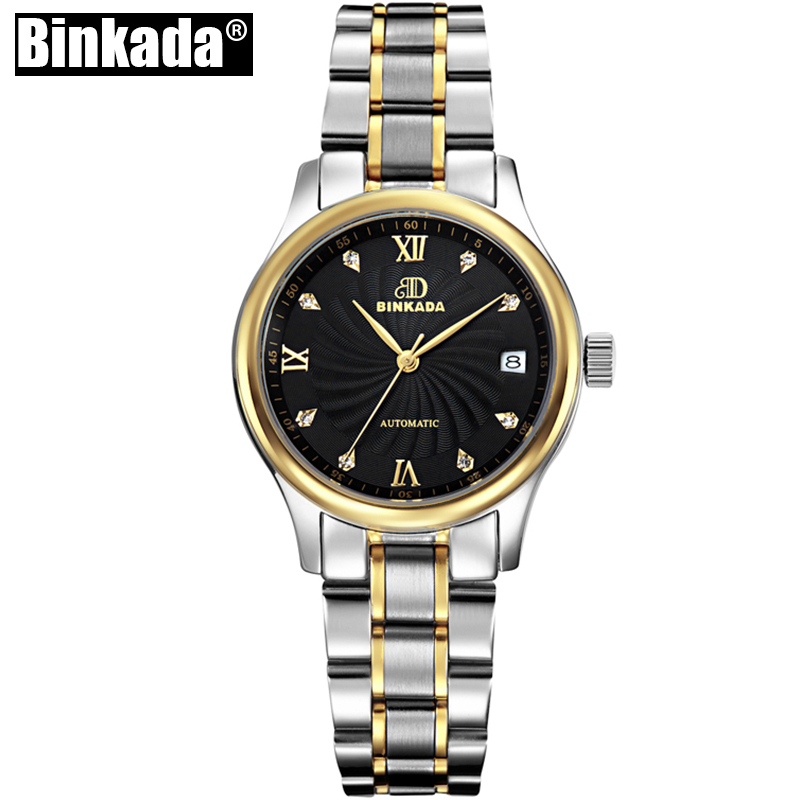 BINKADA Luxury Brand Mechanical Watch Women Full Steel Bracelet Waterproof Sapphire Casual Fashion Automatic Ladies Watches