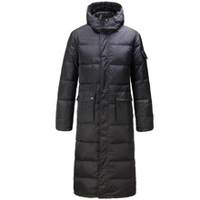 Hooded Extra Long 90% Duck Down Overcoat Men Casual Black Outwear Jackets Male Thick Coat Fashion Puffer Jacket JK-784