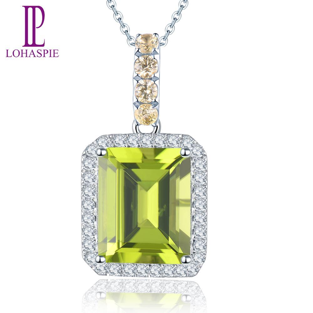 LP solide 14K or blanc pierre précieuse naturelle péridot jaune saphir diamondpendentif pour août cadeau d'anniversaire mode avec chaîne en argent