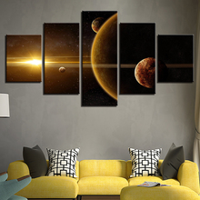 Home Decor Print Canvas Wall Art Pictures 5 Pieces Universe Space Planet Paintings Prints Earth Moon Abstract Poster Living Room