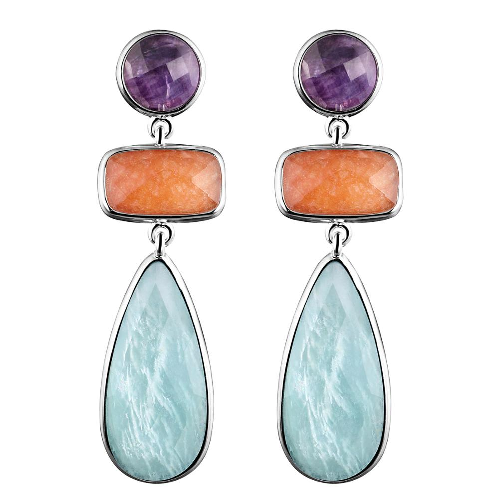 DORMITH real 925 sterling silver earrings natural purple fluorite red aventurine amazonite drop earrings for women