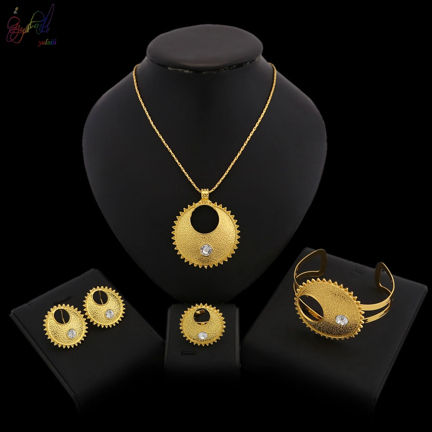 YULAILI Ethiopian Small Set Jewelry Necklace Bangle Earrings Ring Gold Color African Bridal Sets Habesha Eritrea Accessories anniyo good quality habesha ethiopian gold color necklace earrings ring hair chain jewelry sets african wedding gifts 047611