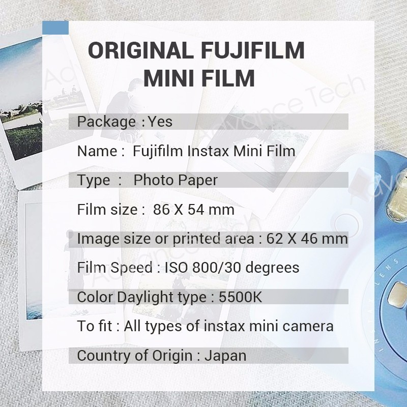 Fujifilm Instax Mini Film White Edge 60 Sheets/Packs Photo Paper for Fuji instant camera 8/7s/25/50/90/sp-1/sp-2 with Package