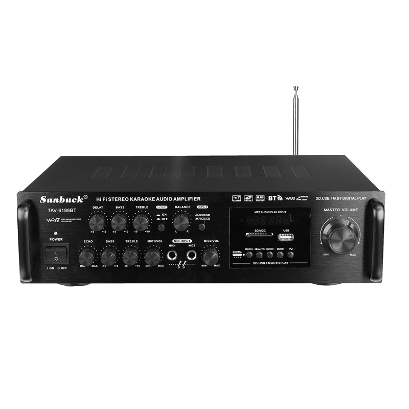 220-240V 2000W 4 -16 ohm Bluetooth Stereo Karaoke Amplifier Wireless Version Digital Audio Amplifier Support 2 MIC Input FM RC
