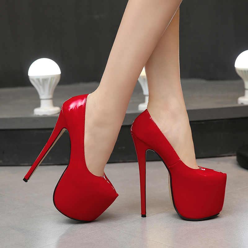 35-44 boyutu kadınlar Süper Yüksek Topuklu 18 cm ayakkabı Muhtasar 8 CM platformları ayakkabı pompaları Düğün Parti Seksi deri ayakkabı zapatos MC-47