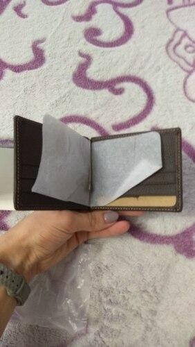 Mode Unisex Echt leder Geldclips 2019 Zwart Bruin 2 Gevouwen Open klem voor geld met ritszak photo review