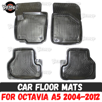 Car floor mats case for Skoda Octavia A5 2004-2012 rubber 1 set / 4 pcs or 2 pcs accessories protect of carpet decoration image