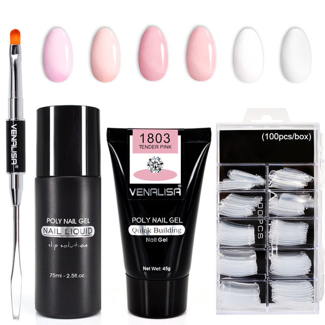 Venalisa Poly Nail Gel Nail Art French Nail Constraction Builder Jelly Brush Acrylic Clearnser Plus Remover Slip solution