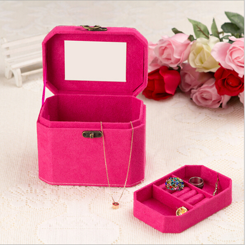 Cute Small Protable Velvet Jewelry Box Fashion Jewelry Organize Womens Cosmetic Box Birthday Gift 4 color Ring Storage Box