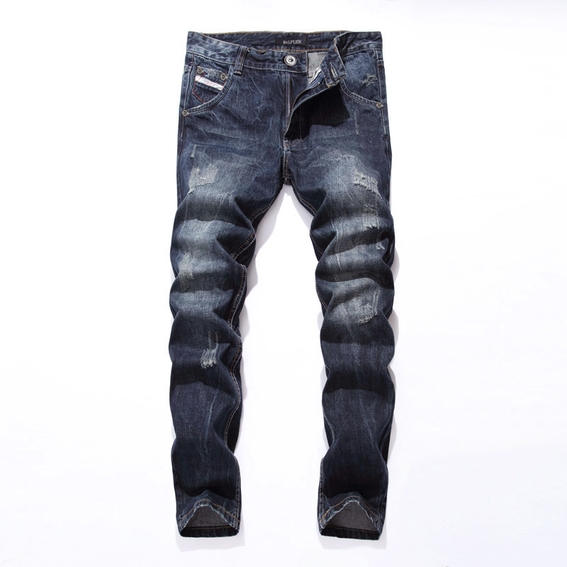 2017 New Dsel Brand Fashion Designer   Jeans   Men Straight Blue Color Printed Men   Jeans   Ripped Men   Jeans  !E988