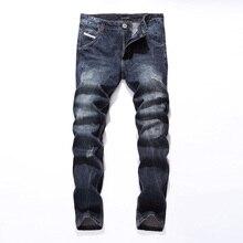 2019 חדש Dsel מותג אופנה מעצב ג 'ינס גברים ישר כחול צבע מודפס Ripped ג' ינס! E988