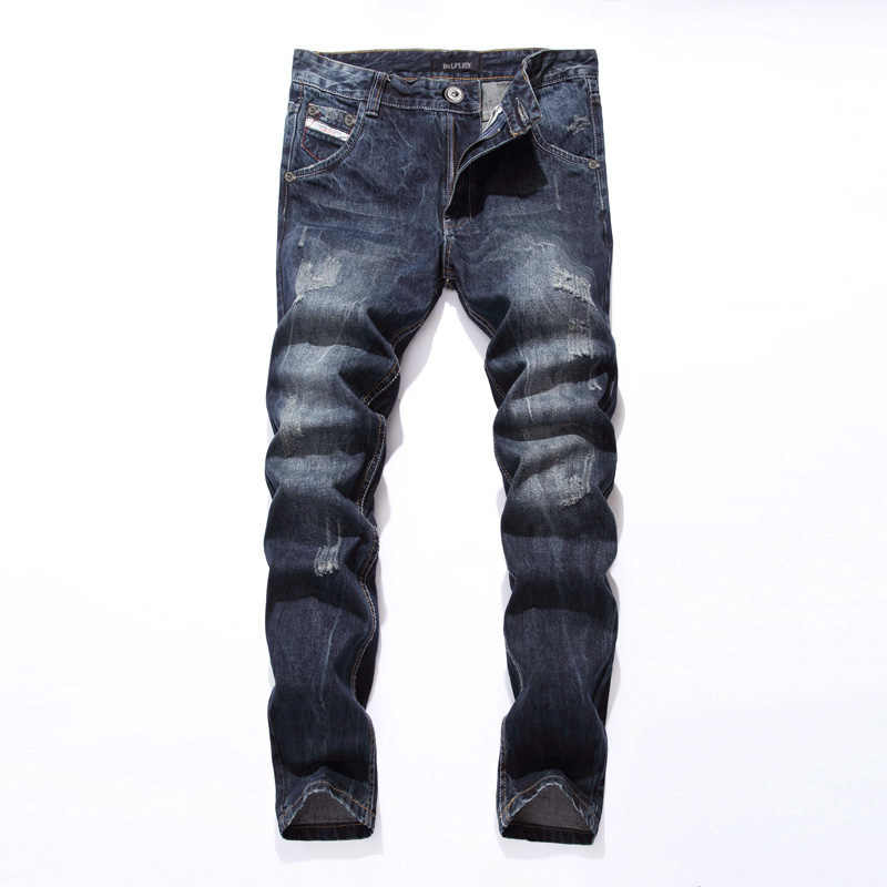 2019 nuevo Dsel marca moda diseñador Jeans hombres recto Color azul impreso hombres Jeans rasgados hombres Jeans! E988
