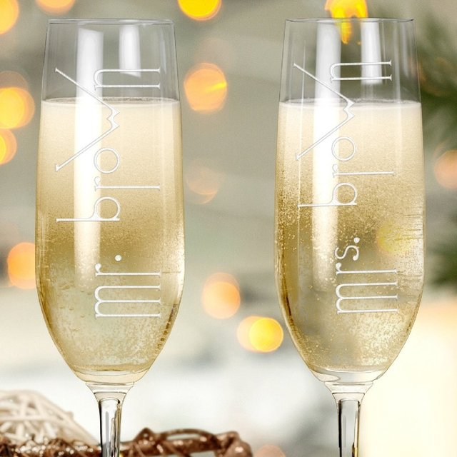 2pc Unique Wedding Toasting Champagne Glasses Personalized Mr Mrs