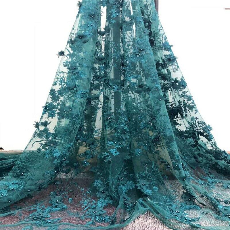 Последние бисера зеленый Швейные материалы 3d аппликация вышивка Французский Тюль Кружева 5 ярдов Африки кружевной ткани X786 1