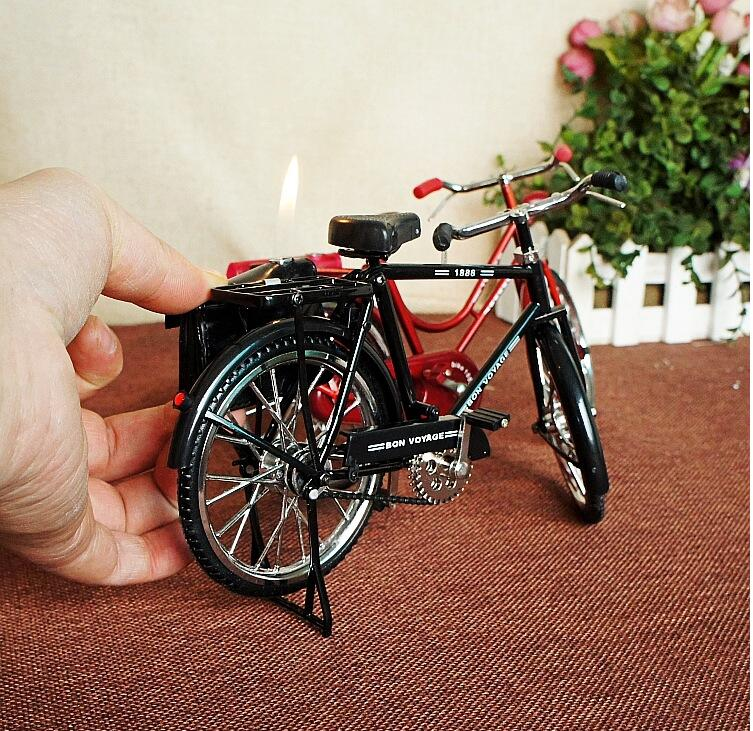 22cm Top Lifelike Vintage Bicycle Model Cigarette Lighter Vintage Home Decor Gift for Men Home Decoration Accessories Nostalgic in Figurines Miniatures from Home Garden